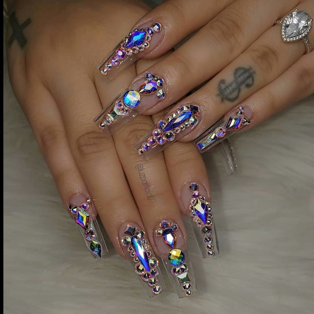 Transparent Fake Finger Nails with Sequins, Rhinestones and Crystals