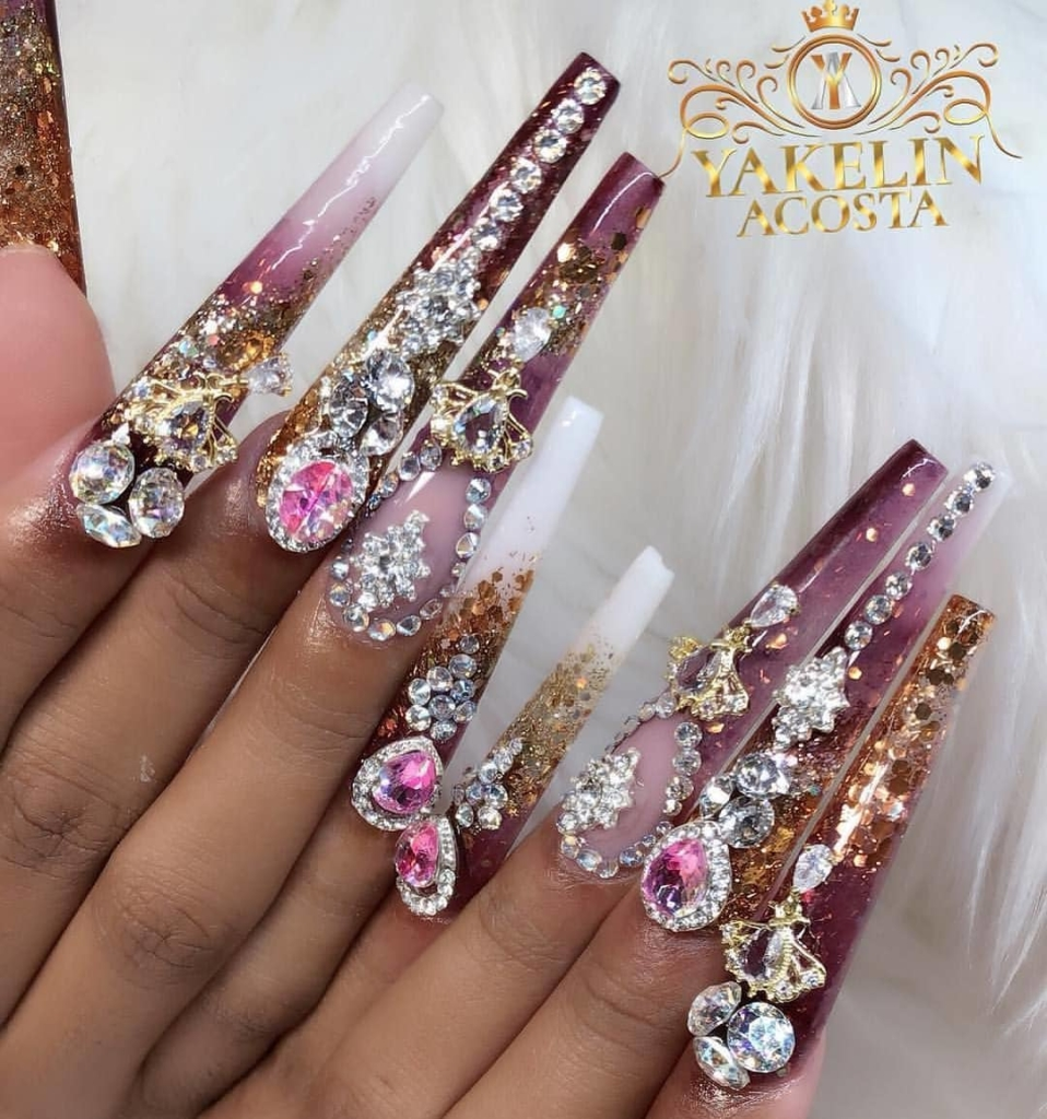 Extra Size Nails with Purple/White Polish and Rhinestones Nail Art