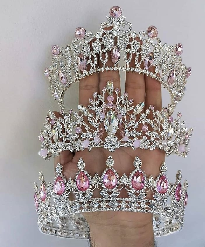 Pink Stones with Small Clear Rhinestone Tiaras