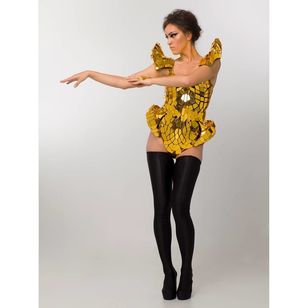 Yellow Gold Mirror Sequin Leotard with Hip and Shoulder Padding.