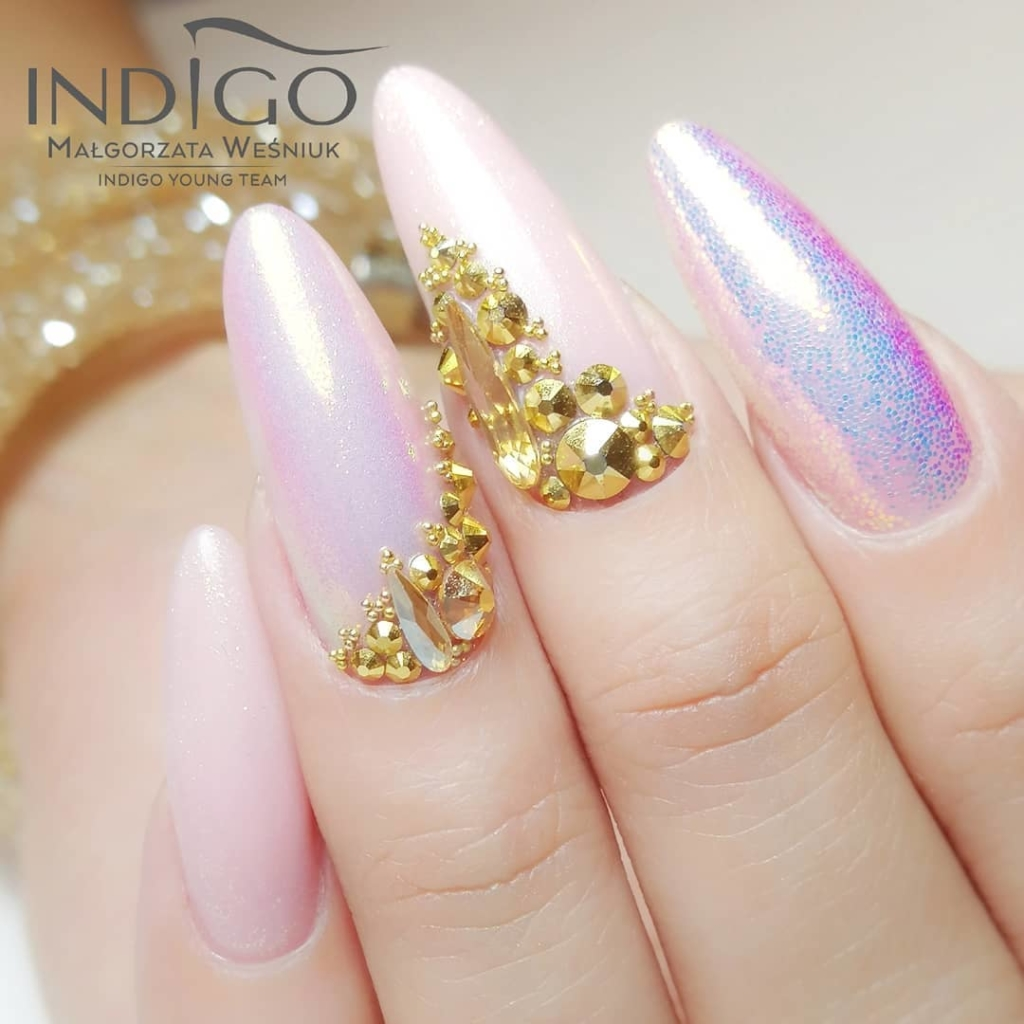 Purple with Pink Nail Polish Colour with Gold Sequins and Rhinestones Nail Art
