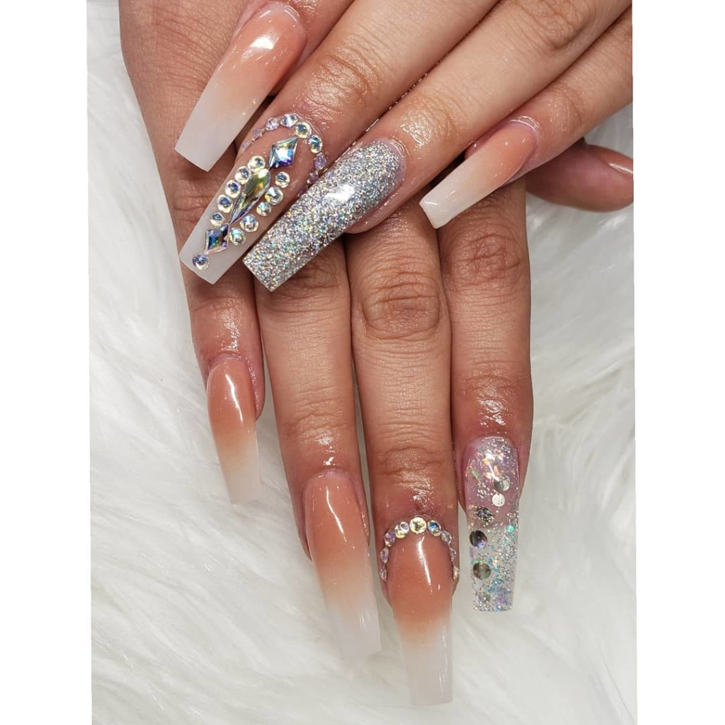 Soft White Nail Polish with Clear Rhinestones and Silver Glittering Polish