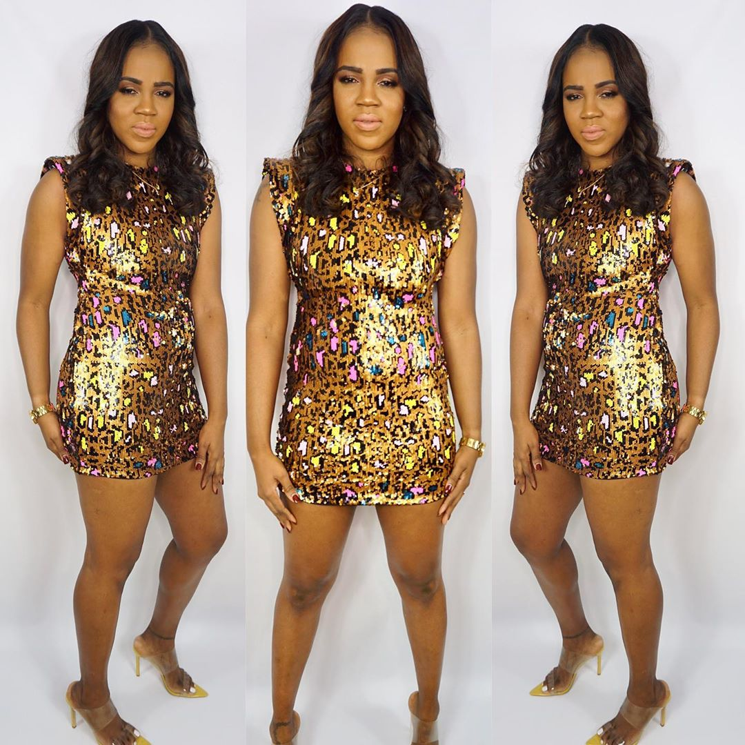 Gold Sequin Cocktail Dress with Animal Print.