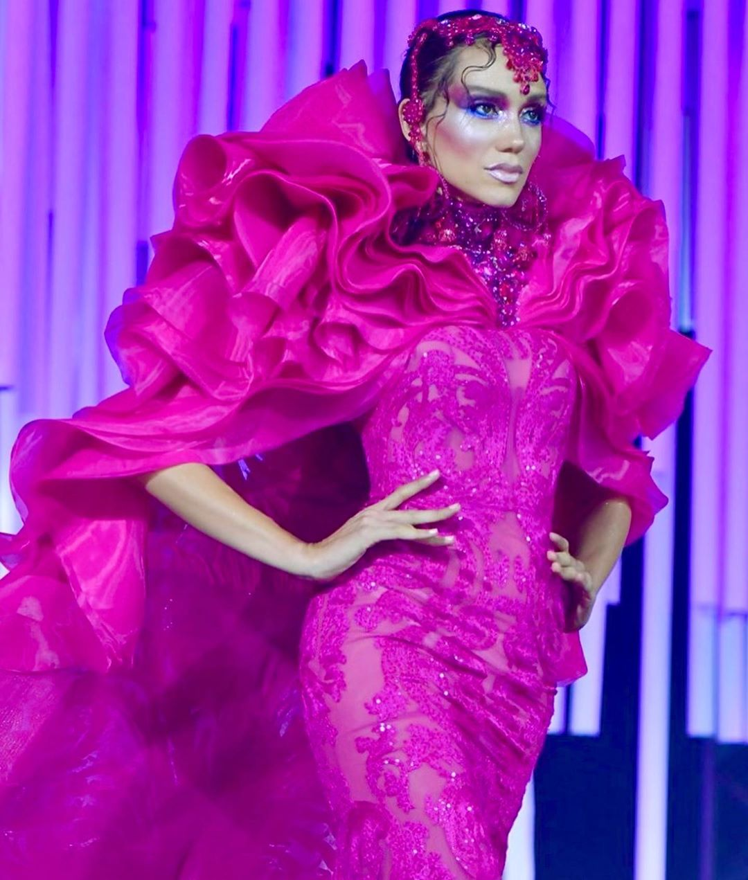 Bright Fuchsia Sequin and Bead Applique Gown and Chiffon Cape with Train.