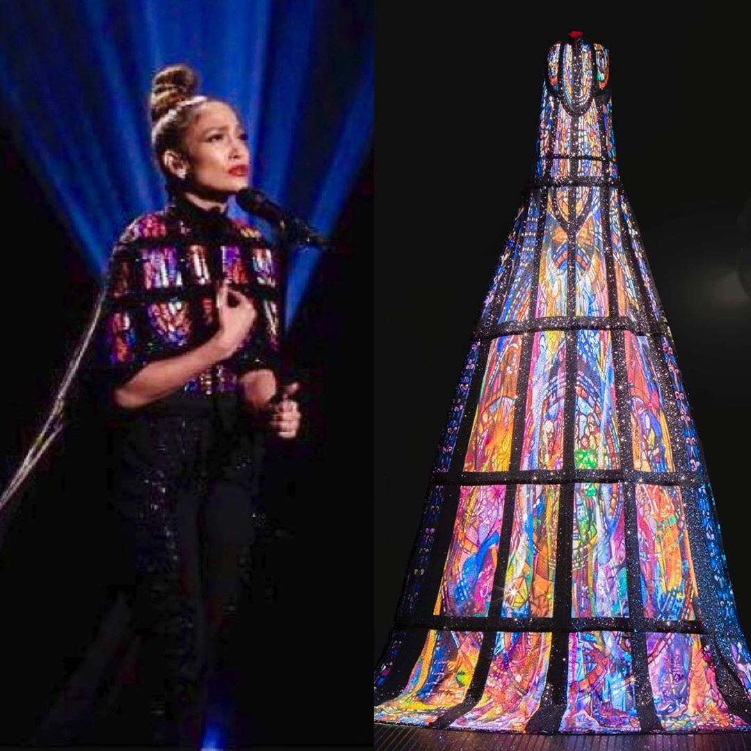 20-Foot Long Hand-painted Stained-glass Cape Full Of Swarovski Crystals.
