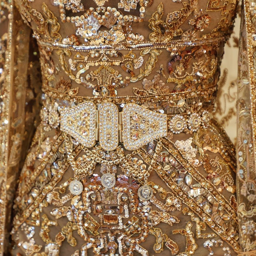 Gold Couture Gown with Rhinestones And Sequins.