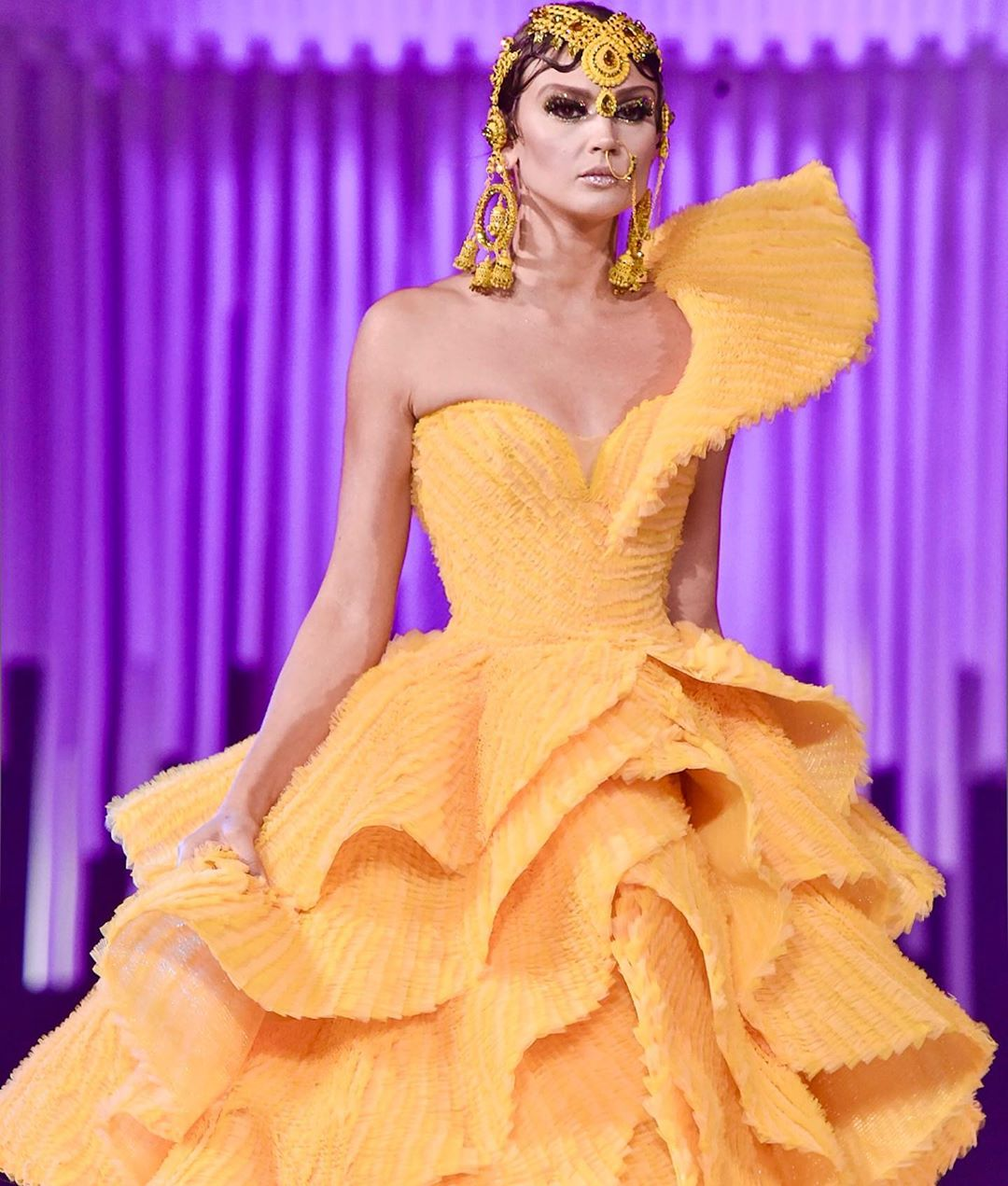 Yellow Dress with One Shoulder, Layered Skirt and Beaded Headpiece.