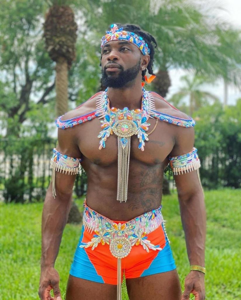 Turquoise Blue Rhinestones Carnival Costume for Men