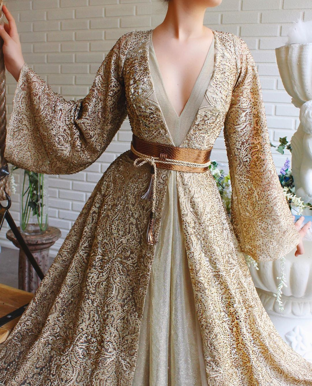 Gold Laced Gown Decorated In Sequins with Bell Sleeves & Hanging Belt.
