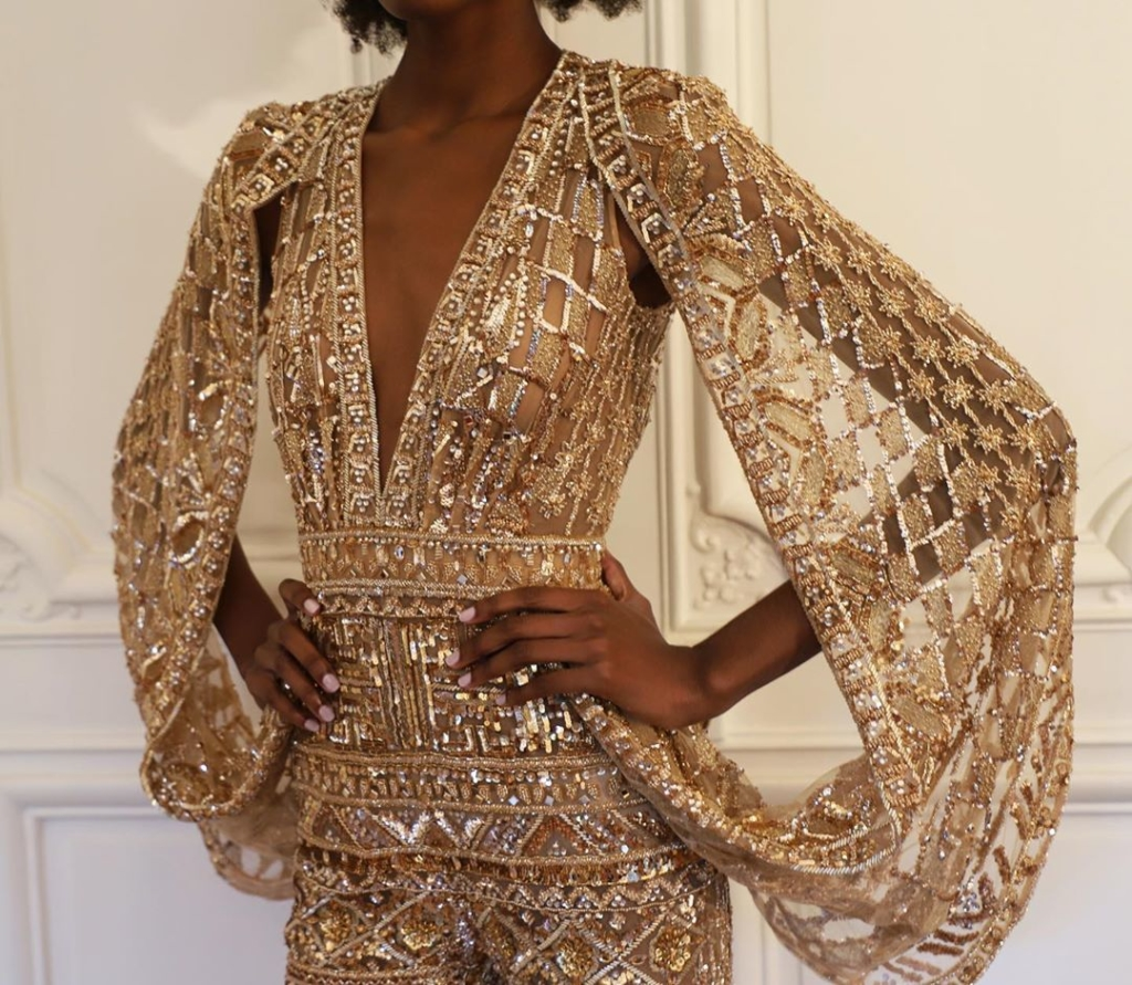 Intricate Detailing Dress with Long Sleeves in Gold.