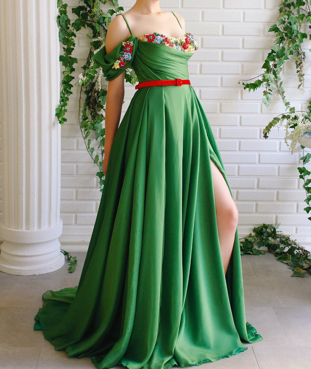 Green Strap with Sweetheart Neckline & Flowers with A High Slit.