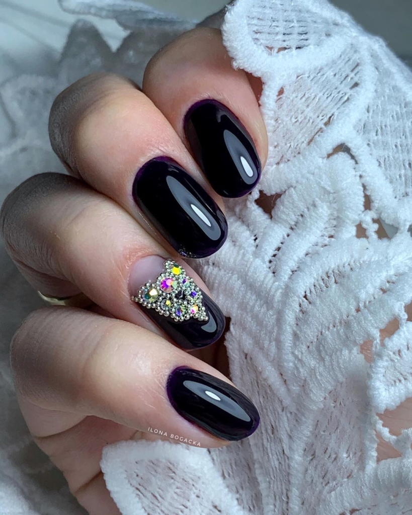 Black with White Dot Glossy Finish Polish with Beaded And Sequin Nail Art