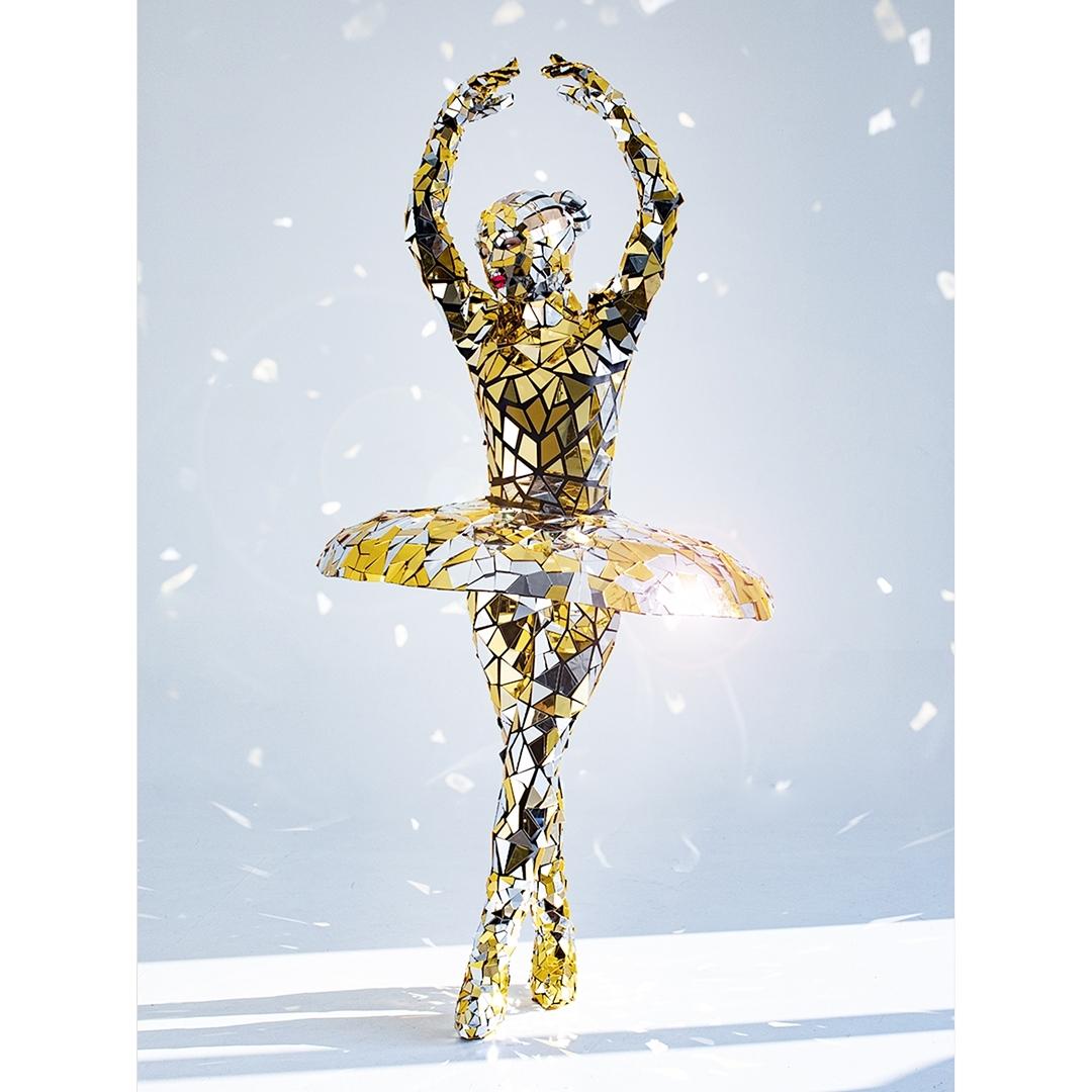 Custom Made Gold Mirror Sequin Ballerina Costume.