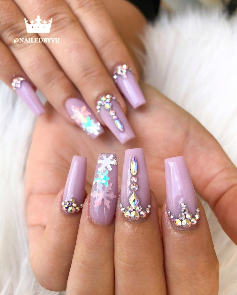 Moscato Rose Nail Polish with Rhinestones and Sequins