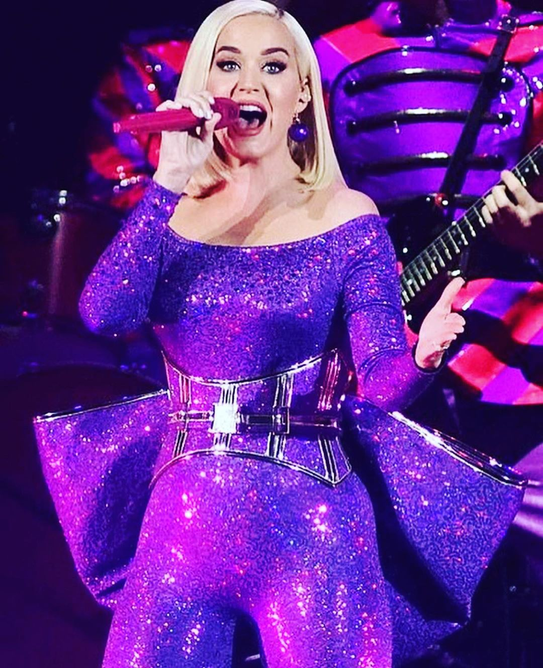 Purple Glittering Long Sleeves Sequin Jumpsuit and Oversize Waist Bow.