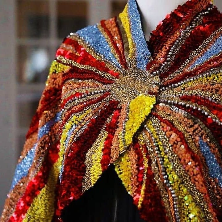 Multi-Colour Hand-Embroidered Shawl With Beads.