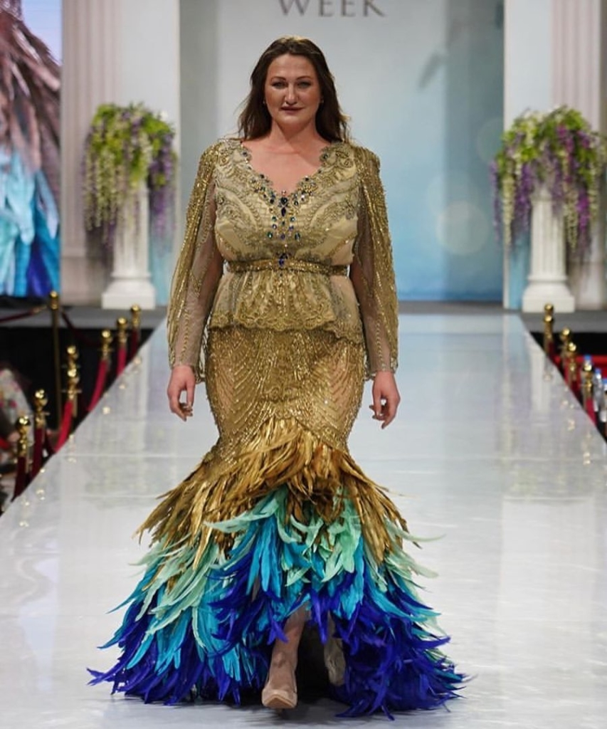 Gold Sequin Dress Plus Size with Long Sleeves and Feathers.