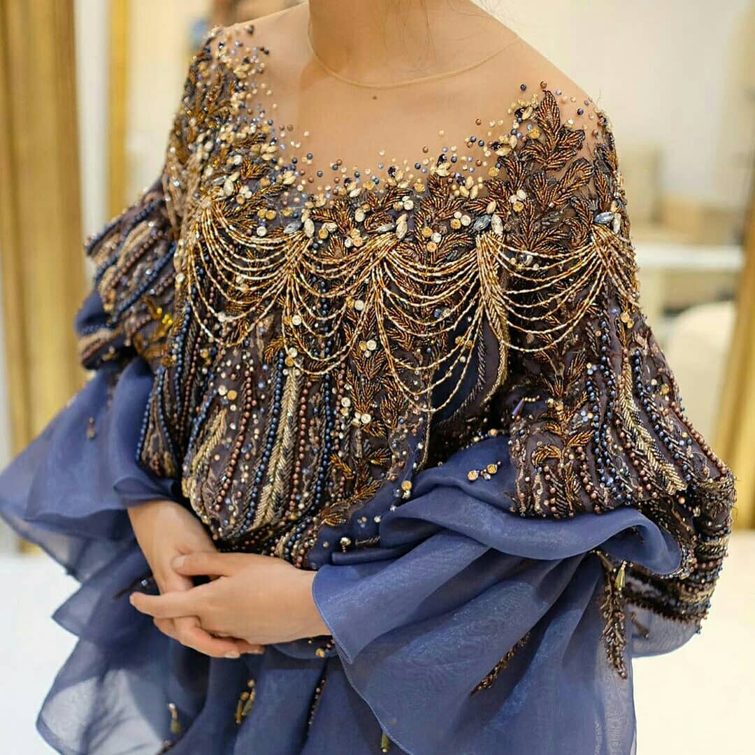 Old Gold Sequin Detailing and Bead Strands on Long Sleeve Gown