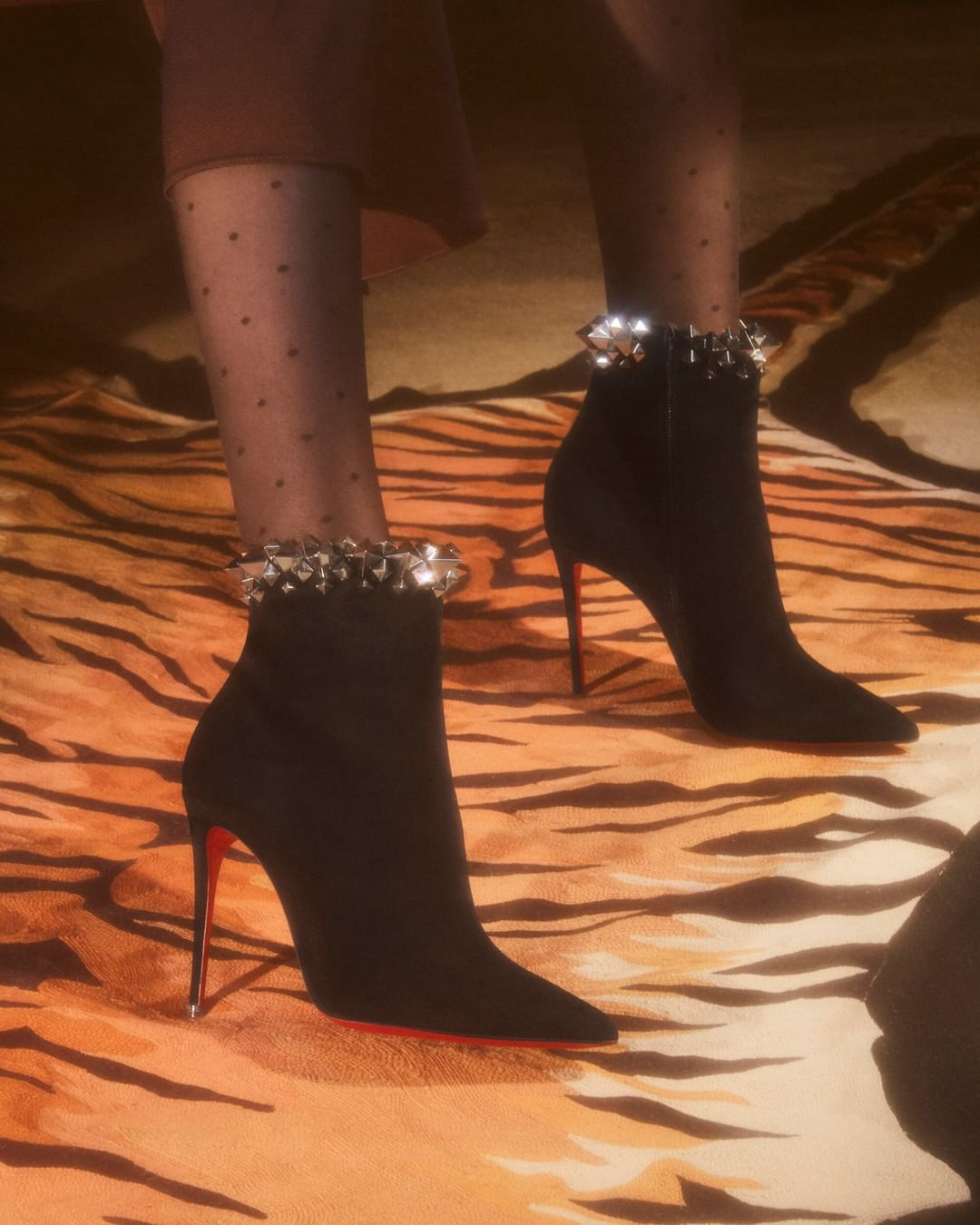 Black High Heels Boots with Silver Studs.