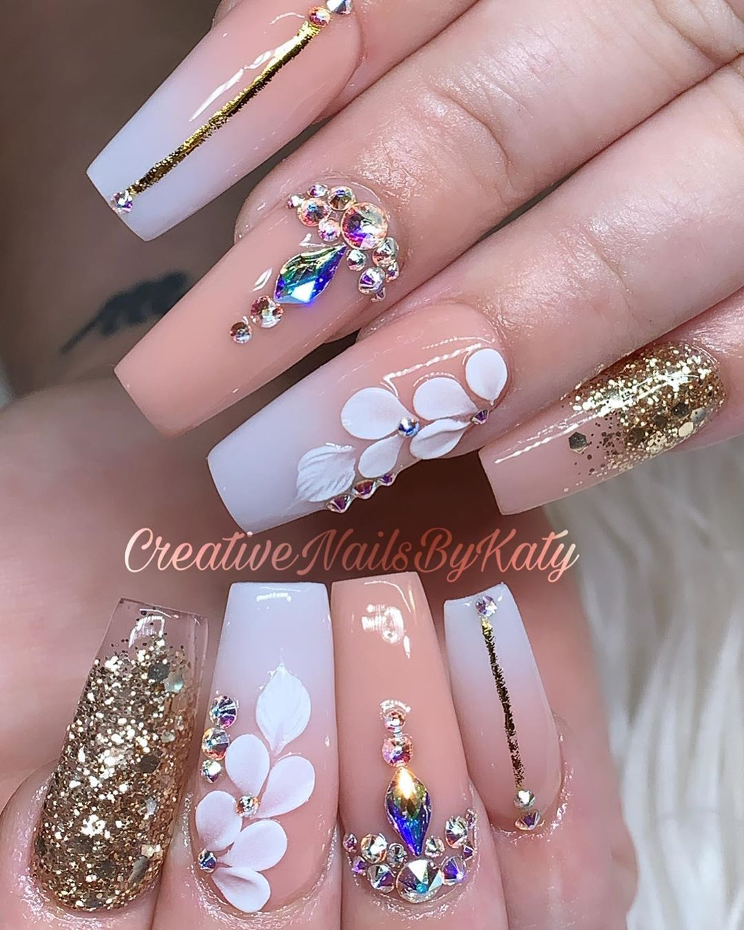 Pearl White and Skin Color Nail Polish with Rhinestones, Sequins Nail Art