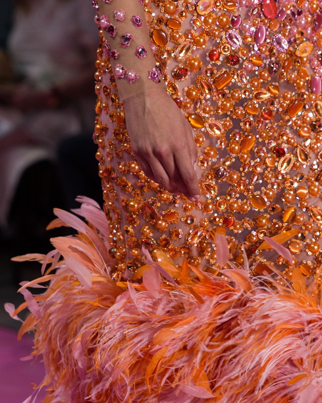 Orange Rhinestones & Crystals With Feathers Couture Gown.