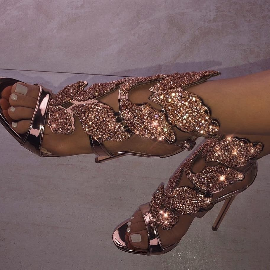 High Heels Rose Gold Sandals with Rhinestones.