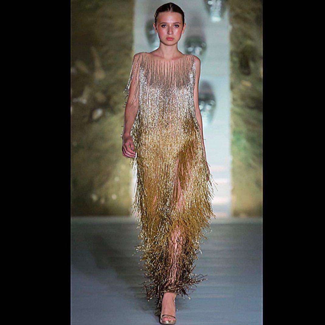 Gold Sleeveless Dress with Beaded Tassels.
