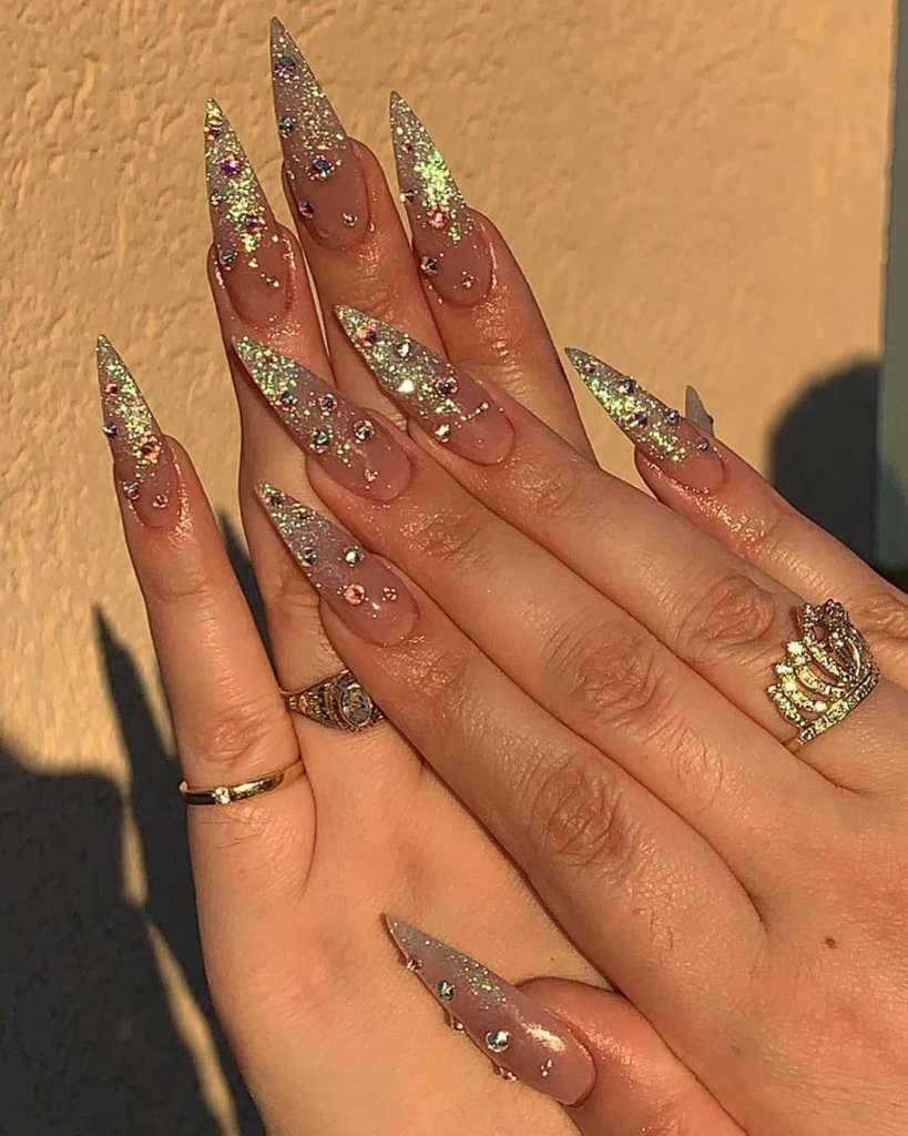 Nail Polish with Brushed Glitters and Rhinestones with Pointed Nails