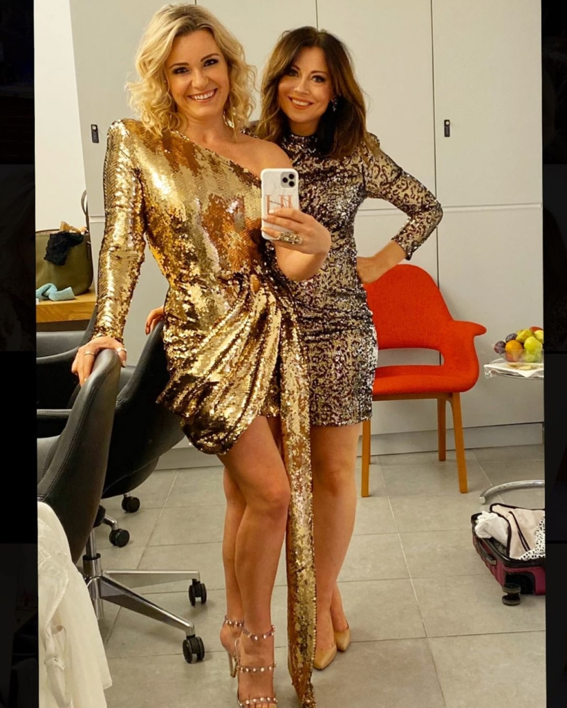 Gold Sequin Cocktail Dress with One Shoulder, Long Sleeve and Gathered Skirt.