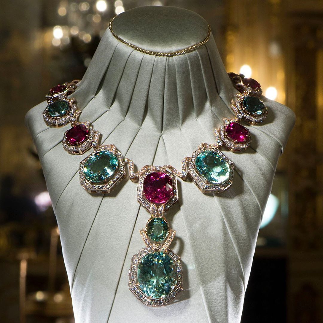 Best Jewelry Online: Blue and Pink Topaz and Diamond Necklace