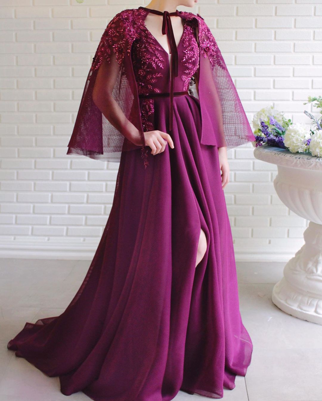 Long Dark Pink Dress with Chiffon Tie-up Shawl, Slit in Front with Sequin Embellishment.