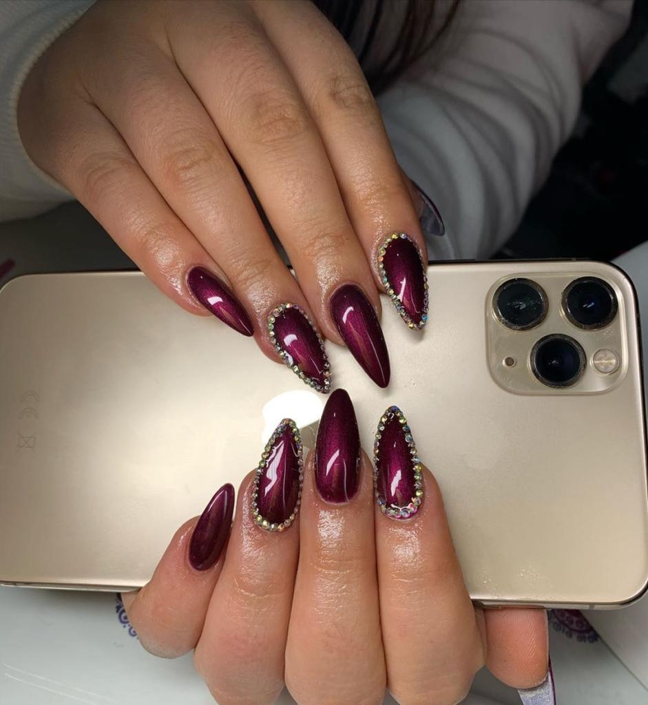 Dark Red Glittering Nail Polish with Golden Beads Nail Art