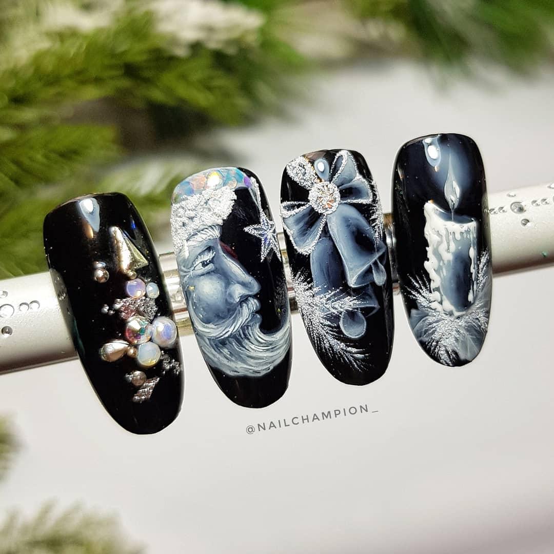 Black Nail Polish with Beautiful Art Drawing and Pearl, Rhinestones Work