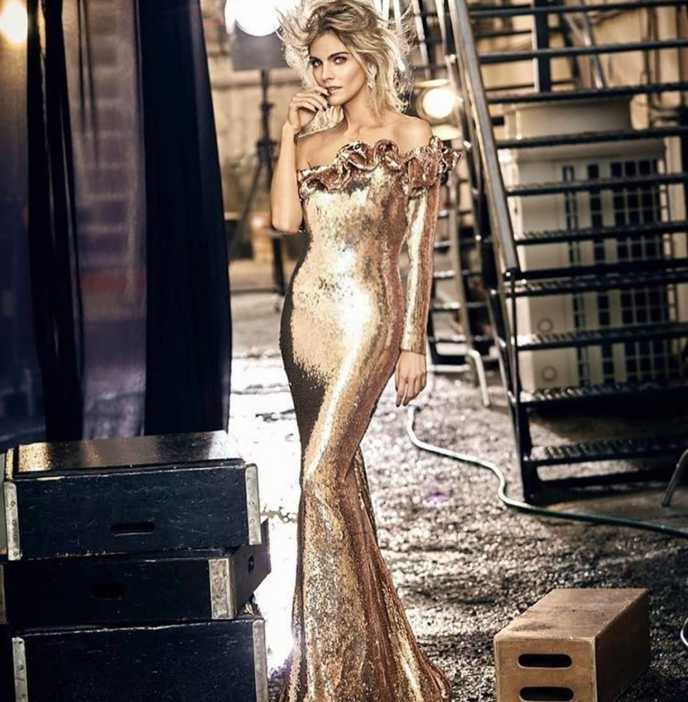 Gold Off-Shoulder Long Sequin Gown with Single Full Length Sleeve