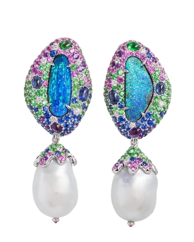 Opals with Multicolor Diamonds and Drop Pearl Earrings