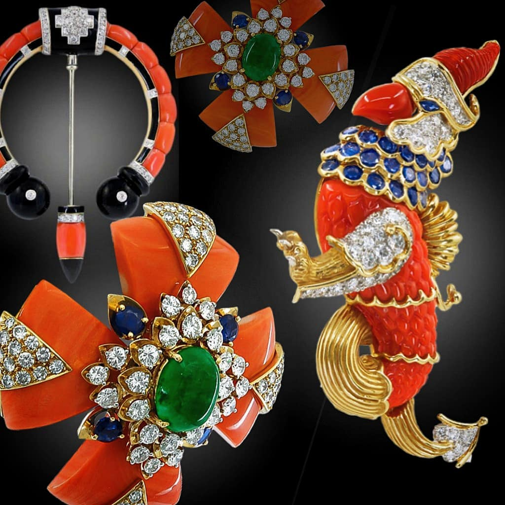 Best Jewelry Online: Red Coral Brooch with Blue and White Crystal Stones and Emeralds
