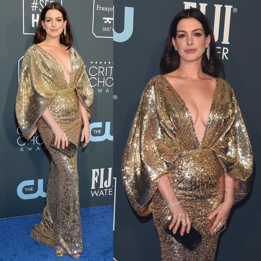 Long Sequin Gown with Deep V-Neck & Bell Sleeves.