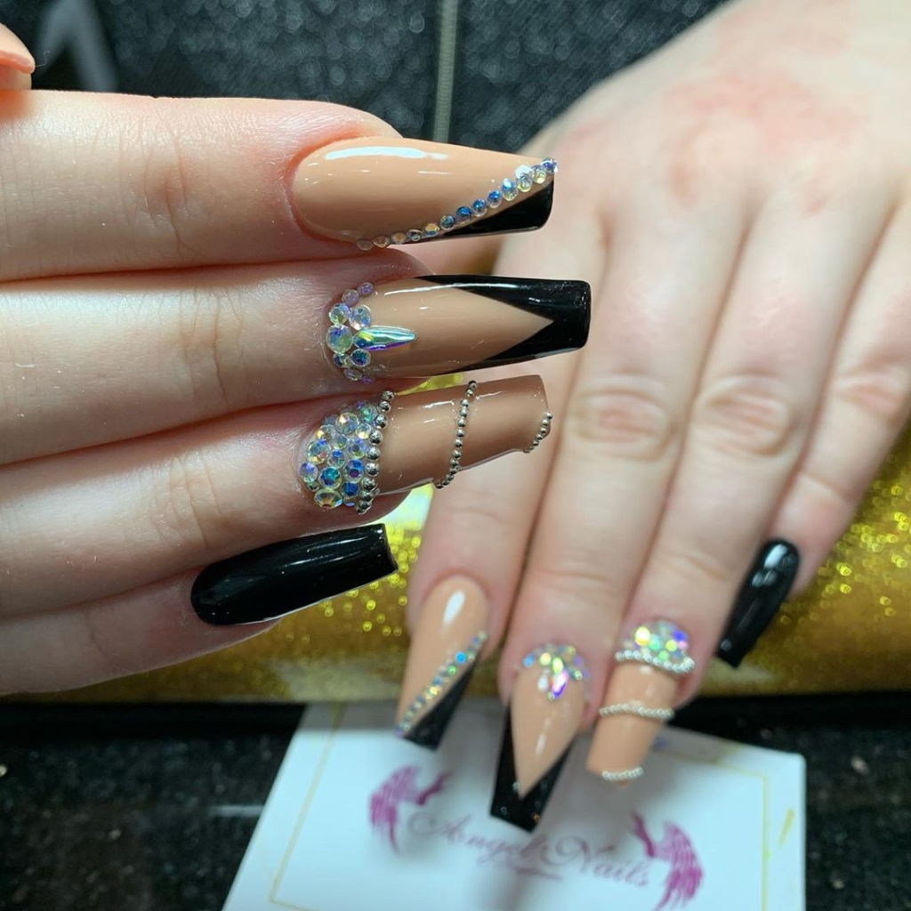 Brown and Black Glittering Nail Polish with Glittering Rhinestones and Beads