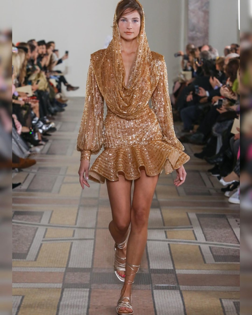 Dark Gold Sequin Short Dress with Cowl Neckline and Full Sleeves.