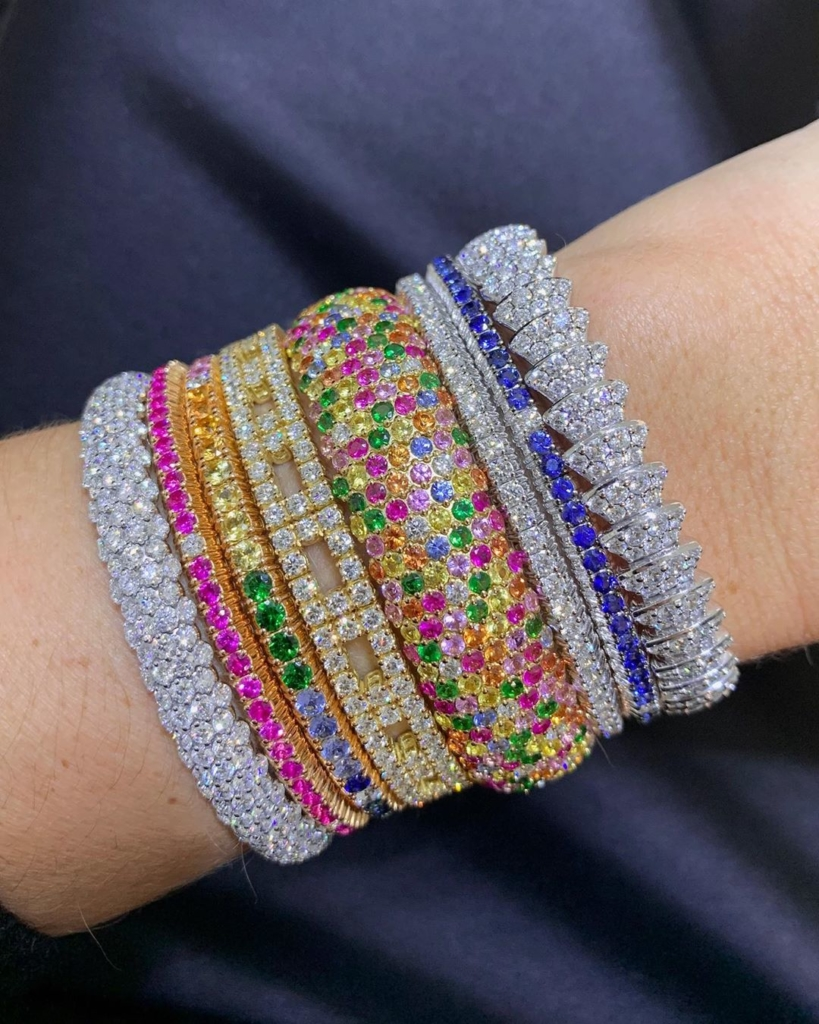 Rainbow Inspired Colourful Rhinestone Bangles
