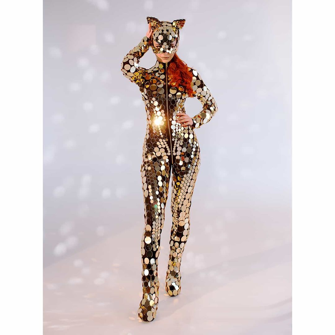 Catwoman Bodysuit Costume in Gold Mirror Sequins.