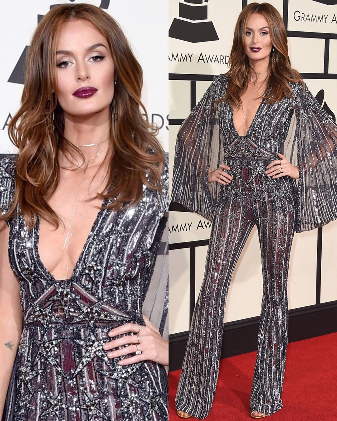 Black, Maroon and Silver Sequin and Bead Deep V-Neck with Bell Sleeves Jumpsuit.