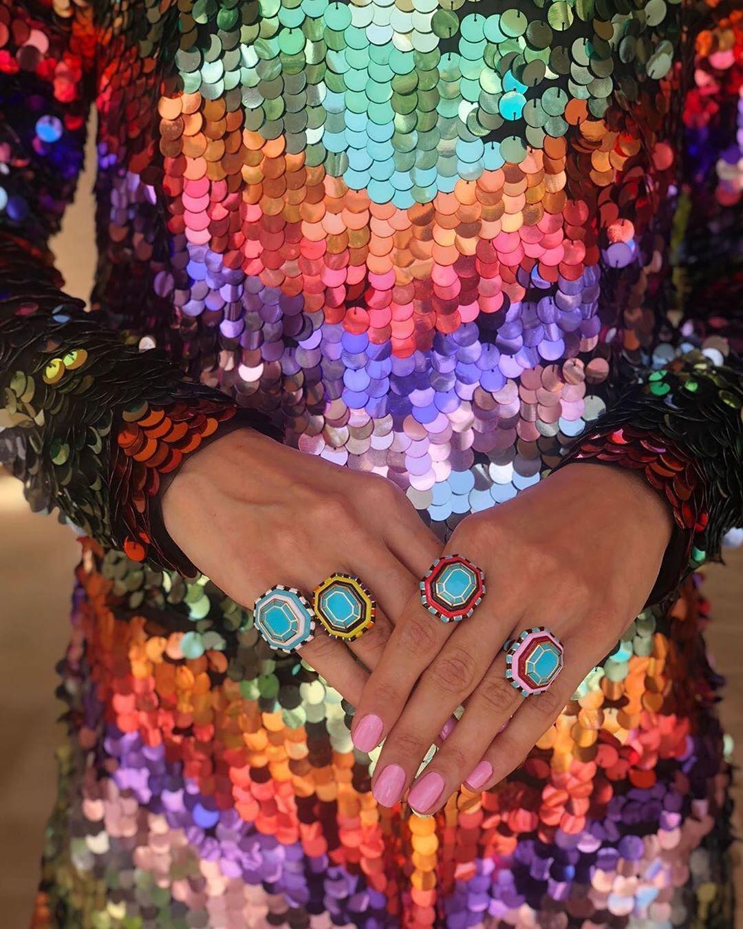 Rainbow Jumbo Hanging Sequin Dress With Long Sleeves.