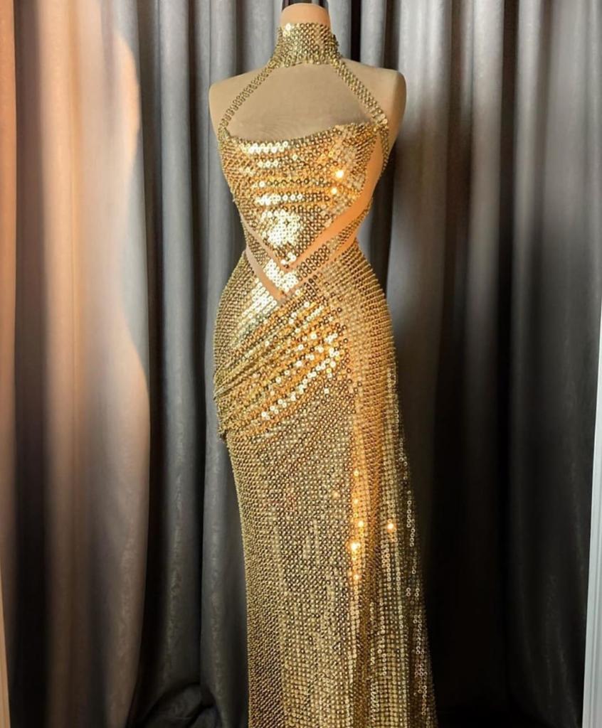 Champagne Gold Long Sleeveless Dress.