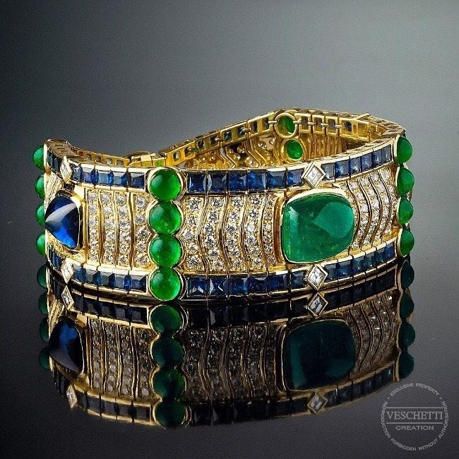Best Jewelry Online: Bracelet Set with Emeralds, Sapphires and Diamonds