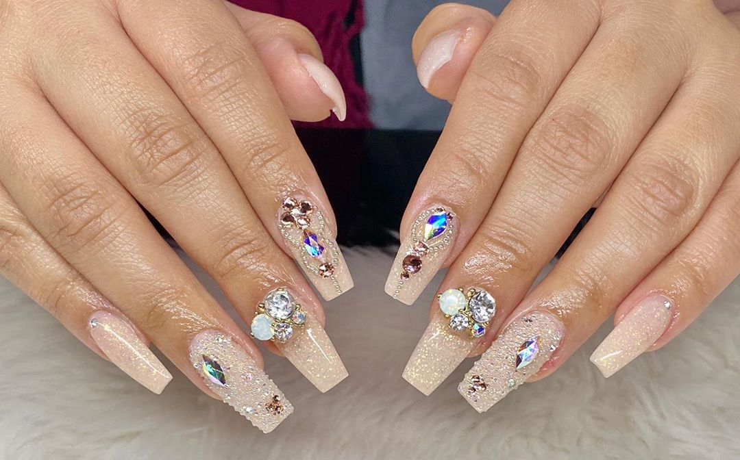 Skin Color Polish with Blinged up Rhinestones and Sequins