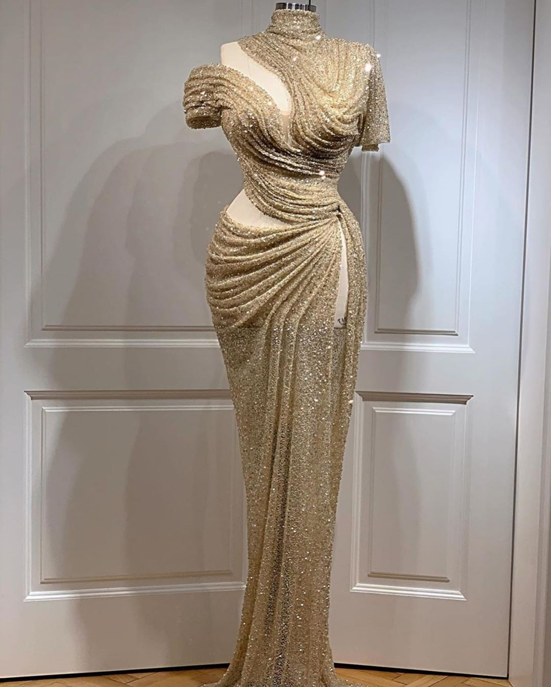 One Shoulder With Slit Draped Dress In Sequins.