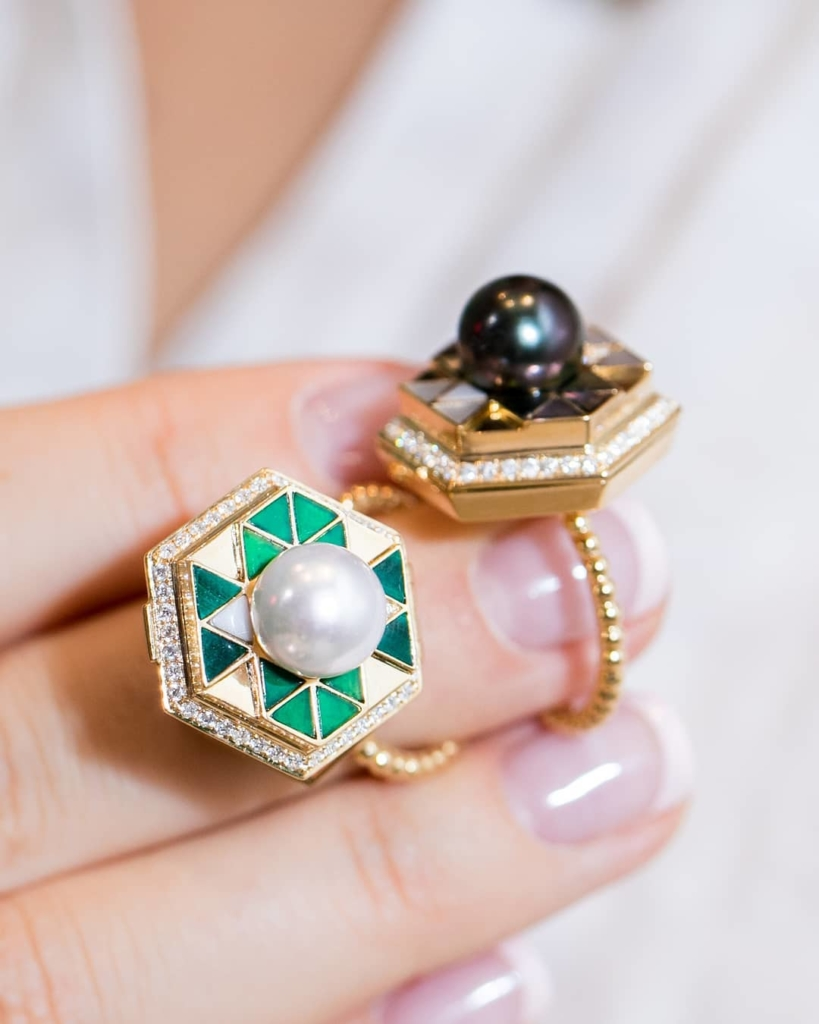 Pearls with Geometric Creations Locket Style Ring