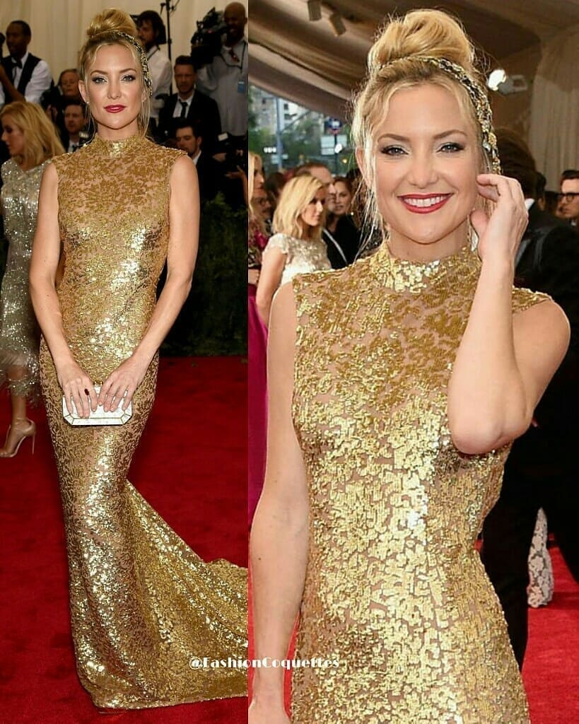 Gold Long Sleeveless Gown with Chinese Color & Train Hemline.