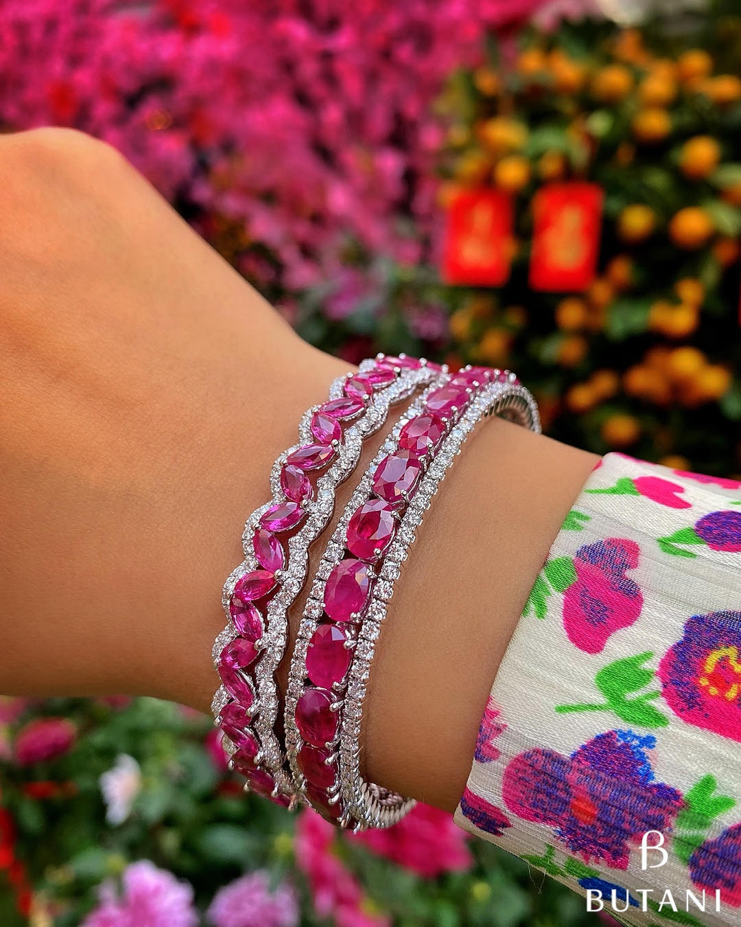 Pink Sapphire and Diamond Bangles